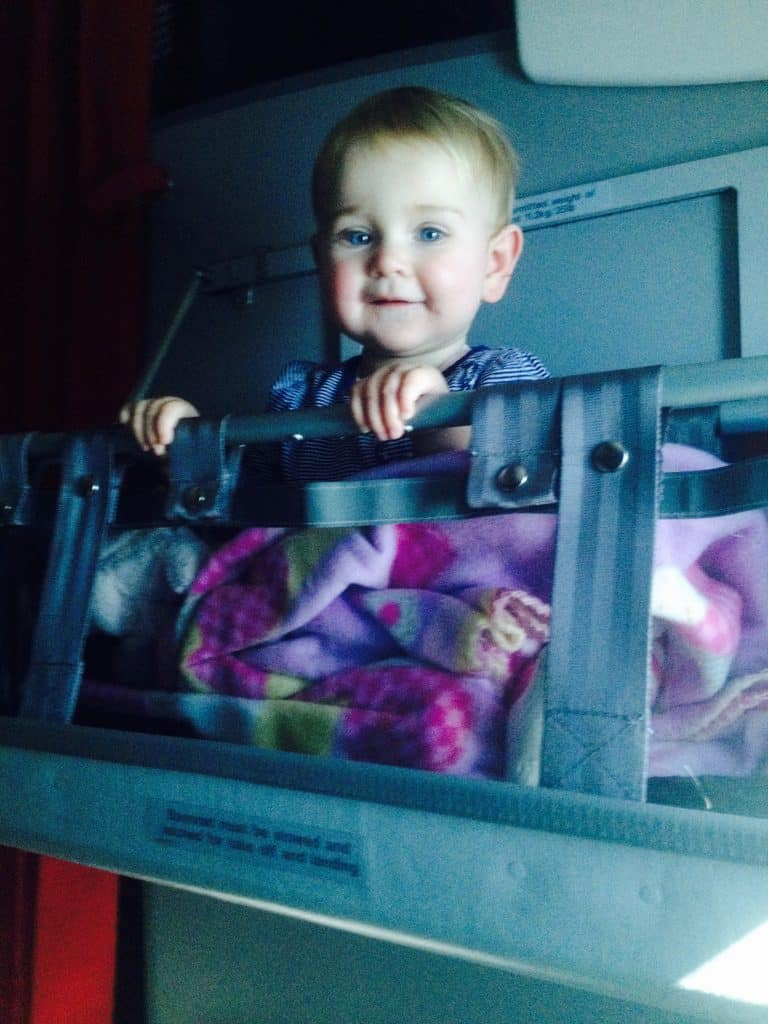 Flying with a baby - awake time in the travel bassinet
