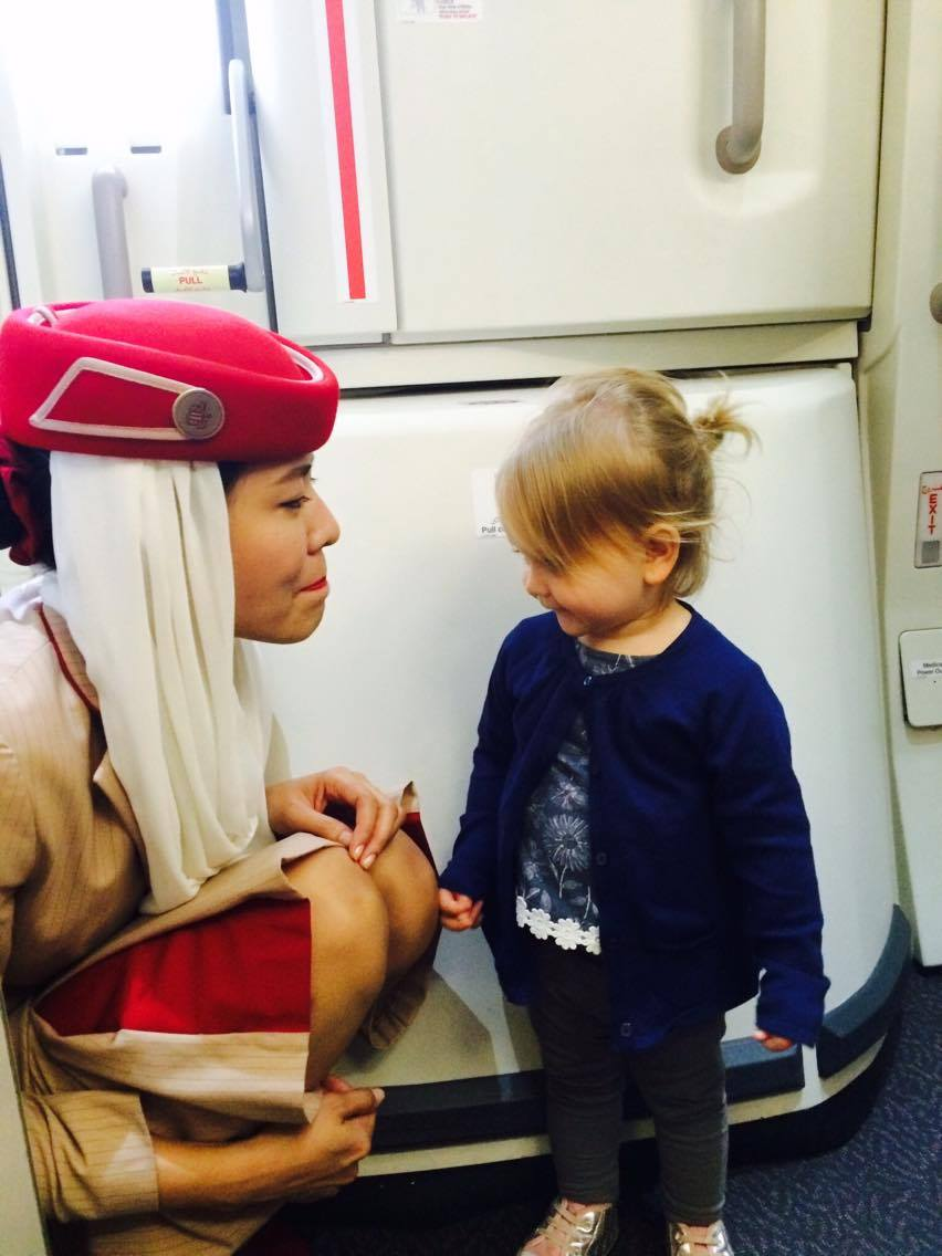 Top tips for flying with a toddler - we love Emirates onboard staff