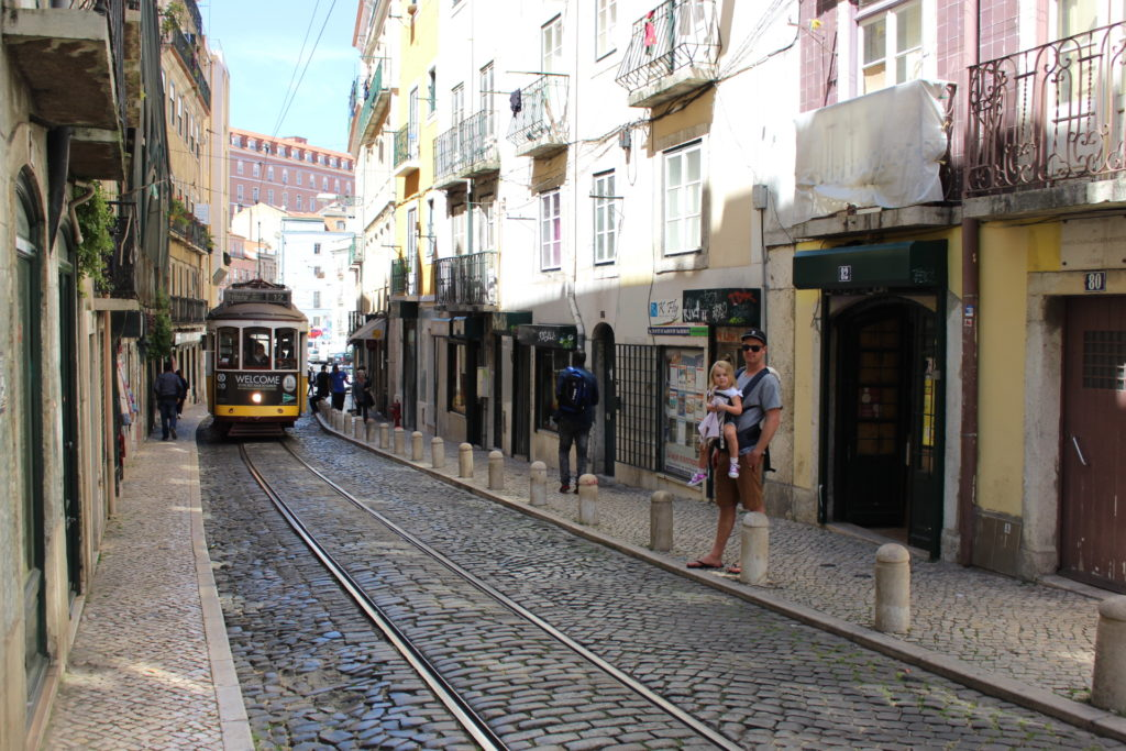 Things to do in Lisbon with kids, such as riding on the vintage trams!