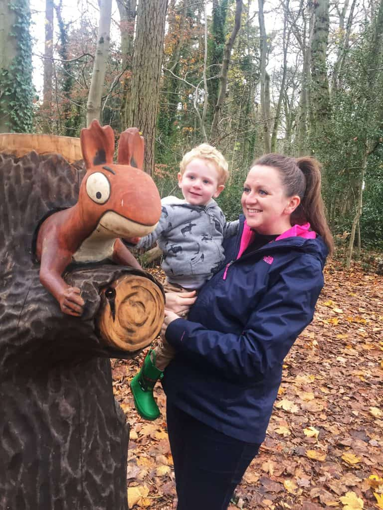 My son and I at the Gruffalo at Westonbirt Arboretum