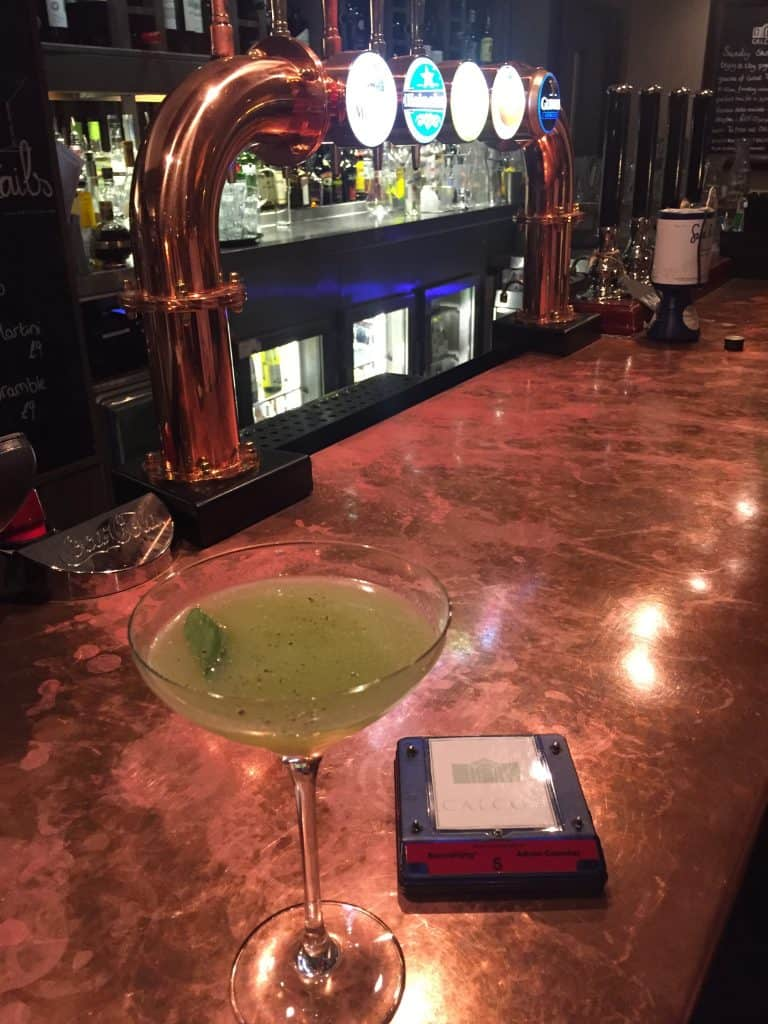 A lemon and lime martini at the Gumstool Pub, Calcot Manor Hotel & Spa