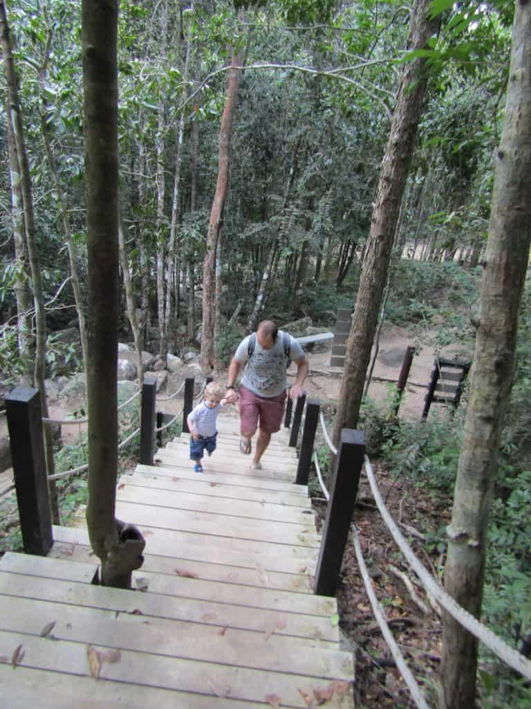 Stair climb at Phaeng Waterfall, Koh Phangan