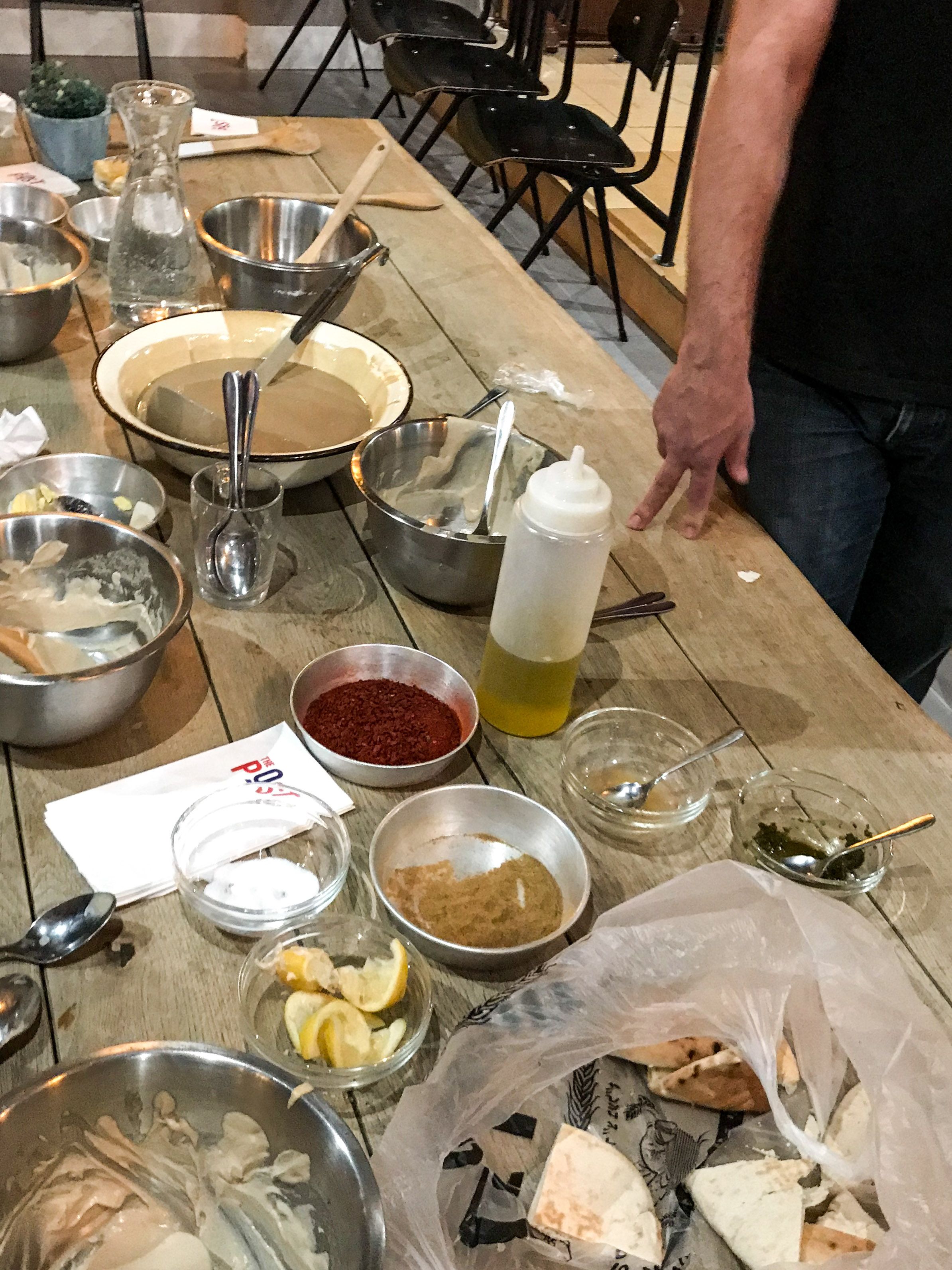 Jerusalem with Kids - Hummus Making at the Post Hostel